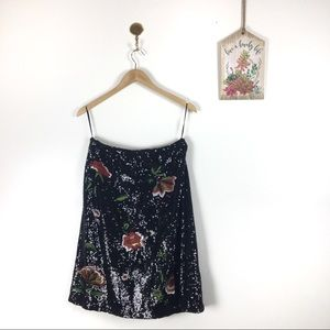 Maeve Anthropologie sequined embroidered skirt